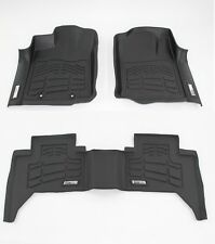 2012-2015 Toyota Tacoma Double Cab 3-Piece Black Front & Second Row Floor Liners