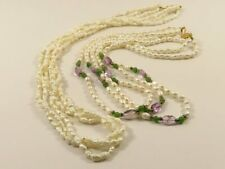 2 Rice Pearl Necklaces-1 w Amethyst/Peridot