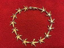 10K Yellow Gold Link Bracelet, Marijuana, Pot, Cannabis Leaf