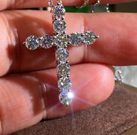 WEDDING SALE 3.00 Ct White Round Cut Diamond Cross Pendant 14K White Gold