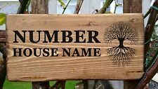 Personalised Wooden House Name Door Plaque Signs Solid Wood Porch Conservatory