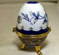 "Egg Jewelry box Blue/Gold rose floral design 4"" tall vintage"