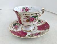 Vintage Royal Halsey Sage Gold Pink/Yellow Floral Iridescent Tea Cup & Saucer