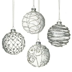 Set of 4 Glass Christmas Tree Baubles Round Hanging Ornaments Decorations Boxed