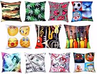 "Luxury Cushion Cover (18"" x 18"") Football Military Emoji Doller $ Music Smiles"