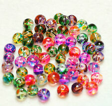 60 ROUND CLEAR GLASS BEADS MULTI COLOUR PRAY PAINTED 6mm (BBA168)