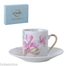 Set of 6 Espresso Cups + Saucers Turkish Coffee New Bone China - Pink Orchids