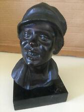 Antique Vincenzo Cinque Bronze Bust of Boy in Hat on black marble base