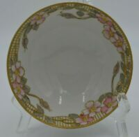 Vintage Nippon Hand Painted Three Footed Decorative Bowl Pink Flowers-Gold-Blue