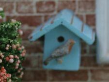 Blue Bird Box (bird not included), Dolls House Miniature, Garden 1.12 Scale