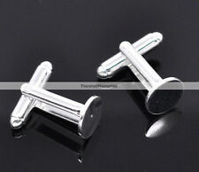 Lot of 20 Silver Plated Cuff Links (10 pairs) - 10 mm Glue Pad