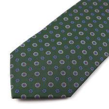 New E.MARINELLA NAPOLI Green and Sky Blue Floral Jacquard Print Silk Tie
