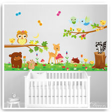 Owl Wall Stickers Woodland Animal Bambi Jungle Tree Nursery Baby Kids Room Decal