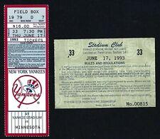 MLB Ticket Stub 6/17/93 Yankees vs. Twins Puckett Winfield Bernie Williams HR#14