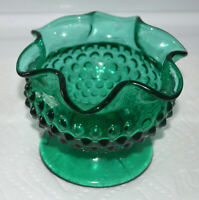 Vintage Fenton Forest Green Hobnail Ruffled Top Vase, Marked OVG