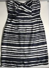H&M Strapless Dress Size 10 Blue And White Stripes light weight material