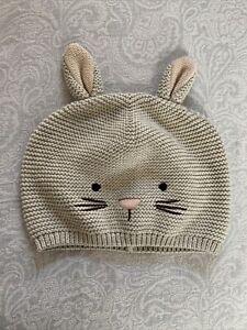 NWT Baby Gap Hat Ivory Beige 18-24M Knit Rabbit Bunny Ears Boy Girl NEW Easter