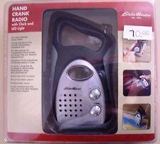 NEW Eddie Bauer Hand Crank Radio w/ Clock & LED Light