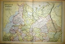 1882 LARGE VICTORIAN MAP ~ RUSSIA IN EUROPE