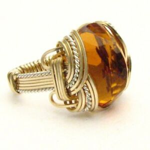 Handmade Wire Wrap Citrine TwoTone Sterling Silver/14k Gold Filled Oval Ring 10+