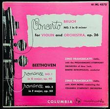 FRANCESCATTI bruch & beethoven violin LP VG+ ML 4575 Alex Steinweiss 1952 ED1