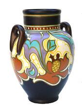 Grand vase ansé, GOUDA PLAZUID Hollande Décor Rolinde –28 cm-circa 1930
