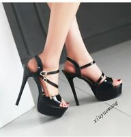Ladies Sexy Stiletto High Heel Ankle Strap Platform Sandals Clubwear Shoes Size