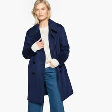 LA REDOUTE LADIES MILITARY WOOL MIX PEA COAT BLUE SIZE 14 NEW (ref F19)