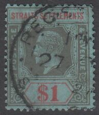Straits Settlements KGV $1 Black & Red / Blue SG210 Used 1914 George V Faults