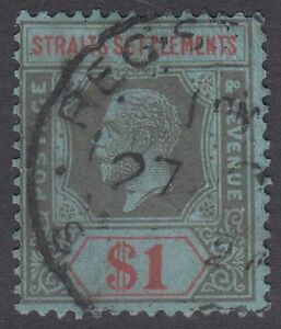 Straits Settlements KGV $1 Black & Red / Blue SG239 Used 1921 George V Faults