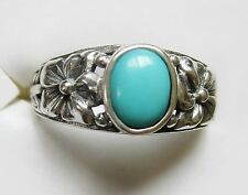 Sleeping Beauty Turquoise Flower Ring, 925 Sterling Silver, sz 8.5 --1.17ct 4.3g