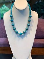 Vintage 1950's Turquoise Lucite Beaded Necklace With Gold Accents In 20""