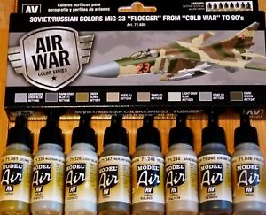"""AV Vallejo MiG-23 """"Flogger"""" From Cold War To 90's Acrylic Colour Set For Models"""