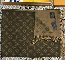 NEW Louis Vuitton Monogram Brown Cashmere Scarf Wrap Shawl Cashmere Wool