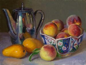 Original oil painting realism still life  peaches mango teapot 12x9 Youqing Wang
