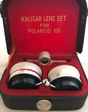 Vintage Kaligar Telephoto Wide Angle Auxiliary Lens Set For Polaroid 100 in Case