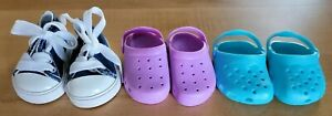 """Lot of 3 Pair Shoes to fit 18"""" Dolls & American Girls! Croc & Converse Styles"""