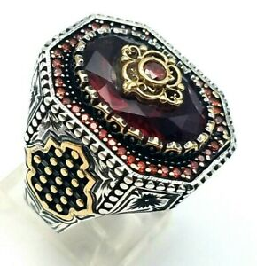 HANDMADE 925 STERLING SILVER RED RUBY WOMEN'S MEN'S TURKISH RING SIZE 10.75