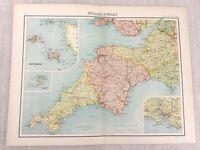 1898 Map of Devon Cornwall Plymouth Channel Islands Bartholomew Antique Original