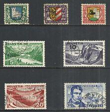 SWITZERLAND SCOTT B53 - B55, B57 - B60 USED - 1930/31 SEMI-POSTAL ISSUES CAT $25
