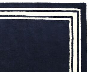 Hotel Harper Border Navy Blue Modern Hand-Tufted 100% Wool Soft Area Rug Carpet