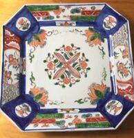 """Japanese Enameled Footed Plate Vivid Floral  Cobalt blues antique Octangular 12"""""""
