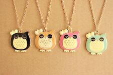 2pcsCute Baby Owl Necklace-Adorable Enamel mix colors Night Owl With Bow Pendant