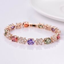 Lady Girls Multi-Color Topaz Crystal Gemstone Graceful Party Chain Bracelet Gift