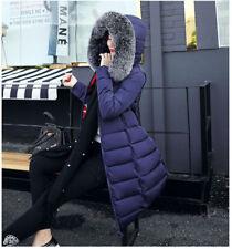 Women's Down Cotton Warm Jacket Hooded Long Coat Fur Collar Parka Winter Outwear