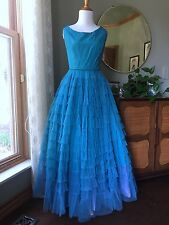 50s Prom Dress Turquoise Aqua Long Cocktail Gown 1950s Tiered Lined Cupcake Blue