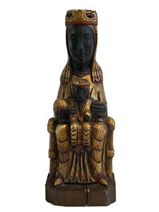 Vintage Hand Carved Wood Religious Holy Statue of Jesus and Mary Madonna Church