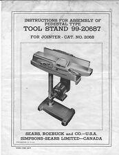 "Craftsman 99-20687 Tool Stand for 2068 4-3/8"" Jointer Instructions"