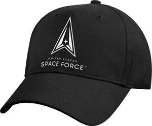Black US Space Force Logo Cap USAF USSF Adjustable 6 Panel Hat