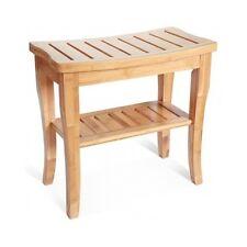 Bathroom Shower Bench Bamboo Seat Spa Sauna Safety Indoor Outdoor Storage Shelf